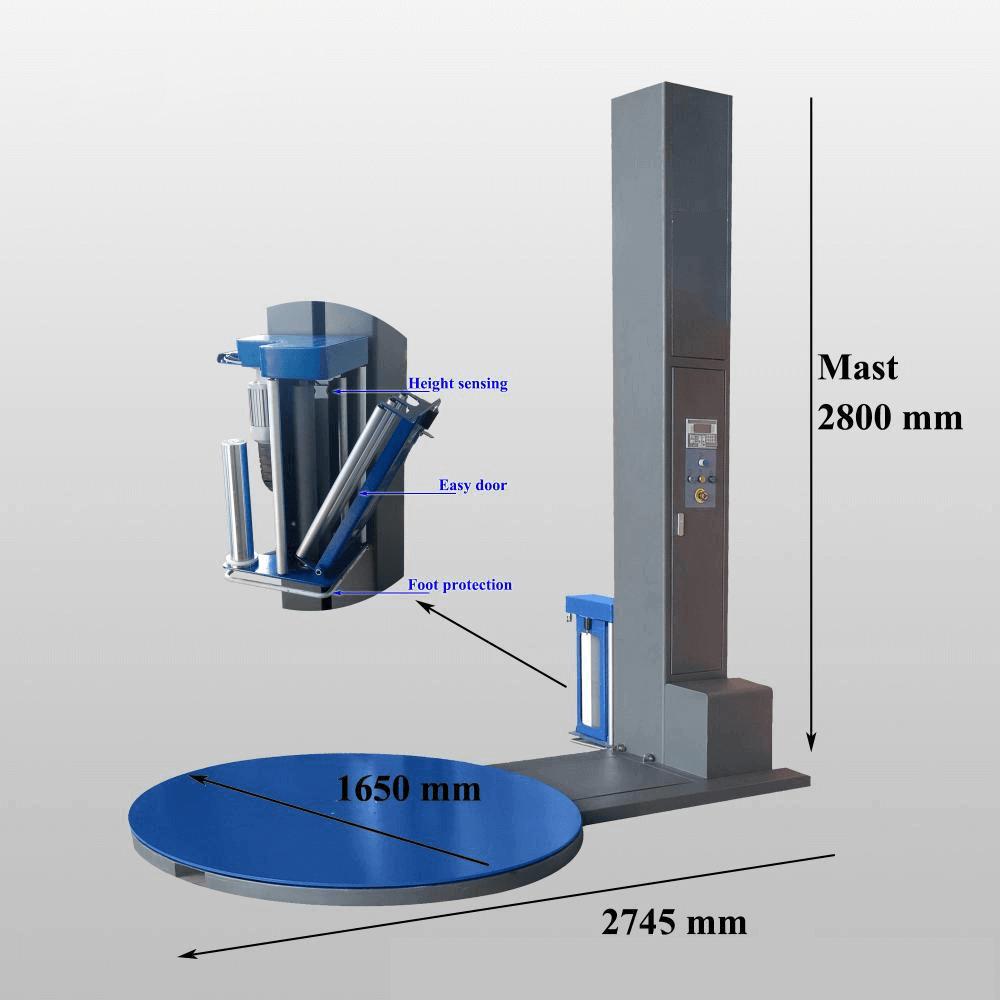 ابعاد یک دستگاه استرچ پالت